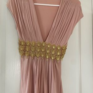 Sky brand rose pink low V top gold jeweled waist